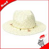 Sombrero ancho flojo del borde de Sun de las mujeres de papel de la paja