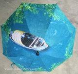 Guarda-chuva reto reverso manual da camada dobro dos carros do punho ao ar livre da forma de C