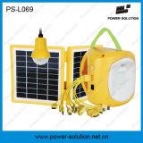 Lanterna com energia solar de painel duplo de 3.4W com 1 lâmpada de CC extra e carregador de telefone USB