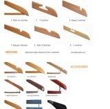 15 '' perchas de madera de bambú para los pantalones vaqueros, perchas de los cabritos de ropa de madera