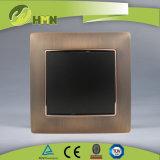 Ce/TUV/BV에 의하여 증명되는 유럽 기준 금속 아연 1Gang 청동색 벽 스위치