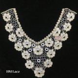 ворота шеи шнурка 38*36cm уравновешивание Hme917 кофточки платья богато украшенный флористического белое вышитое взрослым