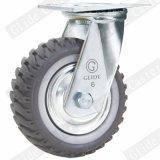 Roda industrial do rodízio da roda cinzenta do poliuretano com freio