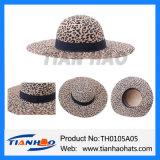 Leopard-Wolle-Filz-Frauen-Floppyhut mit schwarzem Farbband