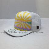 Plano personalizado de moda de malha de espuma a bordo rasante Snapback Hat com padrão de impressão