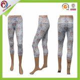 女性のActivewearカバーステッチの細い適性の連続したタイツのヨガの摩耗