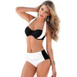 Reizvolle Bikini Mehrfarbenc$kreuz-farbe Badeanzughalter-Oberseite-aufgeteilte hohe Taillen-Badebekleidung