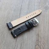 Padrão de crocodilo fina faixa de relógio em pele genuína com a Junção Fria