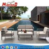 El lujo de acero inoxidable y aluminio con tela/cuero sofá exterior
