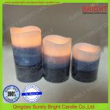 Couleur de surface rustique de couches de la cire de paraffine Shell pilier Bougies LED