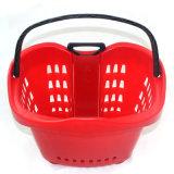 Корзина для товаров красной завальцовки супермаркета пластичная складная