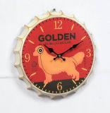 O design da tampa do vaso de Decoração de parede antigo relógio de metal com impressão de cães