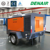 290 Diesel Movable/Mobile Cfm/Portable Double Training courses Screw Air Compressor one Two Wheels