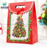 Saco de papel de empacotamento recicl Eco-Friendly personalizado do presente da Noite de Natal da impressão