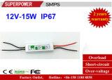 Fonte de alimentação impermeável IP67 do interruptor do diodo emissor de luz da tensão constante 12V 15W do excitador do diodo emissor de luz