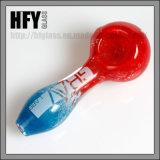 جديدة 2017 [أمريكن] لون أحمر مع زرقاء زجاجيّة يد أنابيب بيع بالجملة نارجيلة تبغ [غرف] مختبرات يدخّن ملعقة أنابيب