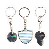 Kundenspezifischer Laser gravieren Firmenzeichen-Metallhaus-Form-Schlüsselring Keychain