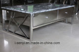 Frame de aço inoxidável da mobília moderna da sala de visitas com a mesa de centro de 4 gavetas da madeira contínua