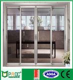 Puerta deslizante de aluminio de Pnoc080305ls con el vidrio a prueba de balas