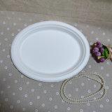 Plaque biodégradable ovale de bagasse remplaçable de vaisselle de la Chine Eco