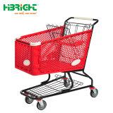 Plastiksupermarkt-Plastikmetalleinkaufen-Laufkatze-Karre