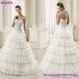 Alineada de boda nupcial de V-Back del cordón gris superventas de los vestidos