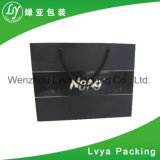 Envases de lujo en venta al por menor de la bolsa de papel negro Compras