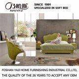 Зеленая естественная кожаный кровать для пользы G7006 спальни
