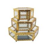 Baratija de oro de la joyería del rectángulo de regalo de la pulsera del anillo del Lacework