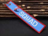 Corrente chave tecida tela com o Tag da bagagem do bordado