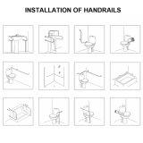 Corrimano della barra di gru a benna dell'oscillazione dell'acciaio inossidabile per i handicappati (GB-3331)