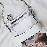 A bolsa transparente do PVC do espaço livre da fábrica de China ajusta sacos de ombro da forma com o saco pequeno dentro de Sy8508