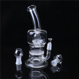 Tubo de cristal que fuma de cristal de Perc del tambor y del panal del claro del tubo de agua