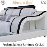 Lb8002 진짜 가죽 현대 침대