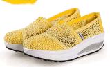 A parte superior nova do laço da chegada calç sapatas de balanço grossas de Soled das sapatas da sapatilha das senhoras cor-de-rosa baixas