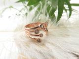 白いDimondのジルコンの石が付いている実質のローズの金張りのめっきされた開いたリング