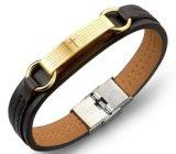 Impulso punk dei monili di fascino della bibbia di modo del Brown del braccialetto degli uomini dell'acciaio inossidabile dell'annata maschio di cuoio trasversale di Bracelets&Bangles