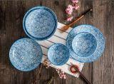 Caneca cerâmica ajustada da placa da bacia da forma chinesa azul