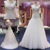 V robe nuptiale ruchée par collet robe inférieure de taille de Tulle de longue