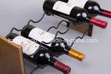 Kreatives HauptDeco stapelbares Akazien-Holz u. Draht-Wein-Zahnstange mit schwarzer Beschichtung