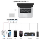 C-Konverter zu USB3.0X3 4 in 1 multi Portaluminiumlegierung-Kasten-Adapter für IOS MacBook Samsung S8 schreiben