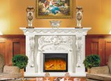 Cheminée de marbre cultivée et mantel bon marché de cheminée en pierre et de cheminée de marbre