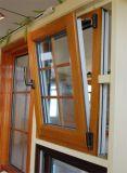 Double guichet en aluminium plaqué en bois de tissu pour rideaux en verre Tempered (YS-72)