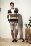 100%COTON tricot à rayures avec encolure en V Hommes Cardigan maille avec le bouton