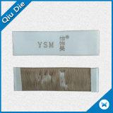 MOQ bajo la etiqueta ropa de etiqueta tejida de superficie suave de plegado plano final de la etiqueta tejida de prendas de vestir
