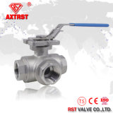 La ISO 5211 L/T flotante de la manera CF8 3 reduce la vávula de bola roscada acceso