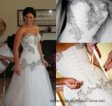 Rinestones Vestido de casamento sem alças de sereia de luxo vestido de casamento nupcial Wd052
