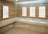Lugar público toalete vaidade bancada com lavatório com espelho