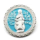 Pièce personnalisée de religion en métal avec boîte en plastique