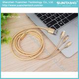 3 en 1 câble de remplissage rapide de foudre pour l'iPhone 6s/Samsung/Tablet